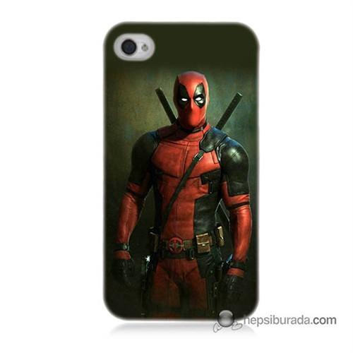 Teknomeg İphone 4 Kapak Kılıf Deadpool Baskılı Silikon