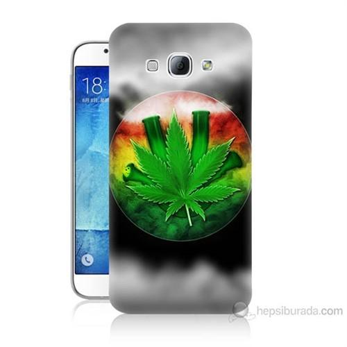Teknomeg Samsung Galaxy A8 Kapak Kılıf Yaprak Baskılı Silikon