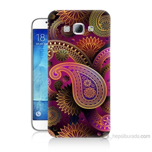Teknomeg Samsung Galaxy A8 Kapak Kılıf İşlemeli Damla Baskılı Silikon