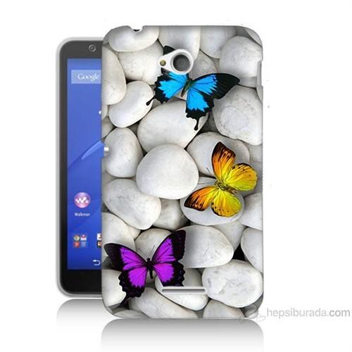 Teknomeg Sony Xperia E4G Kelebekler Baskılı Silikon Kılıf