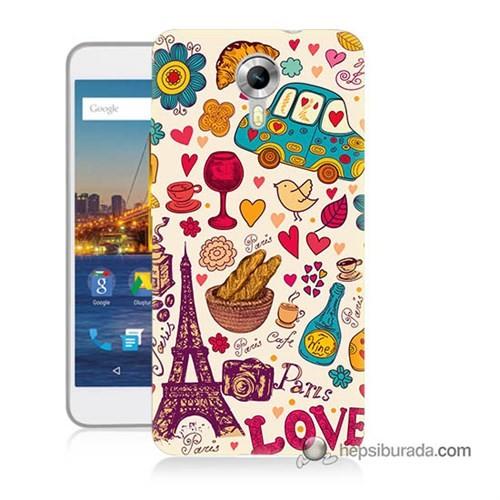 Teknomeg General Mobile 4G Android One Kapak Kılıf Paris Love Baskılı Silikon