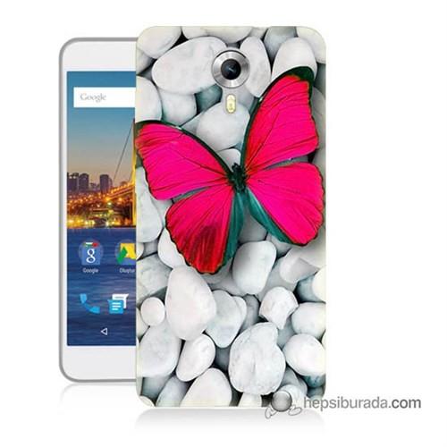 Teknomeg General Mobile 4G Android One Kapak Kılıf Kelebek Baskılı Silikon