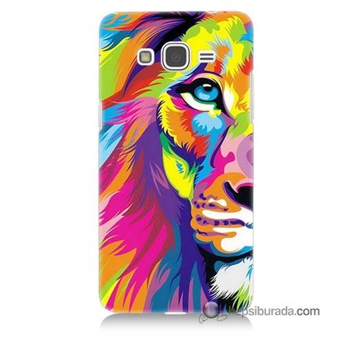 Teknomeg Samsung Galaxy Grand Prime Kılıf Kapak Renkli Aslan Baskılı Silikon