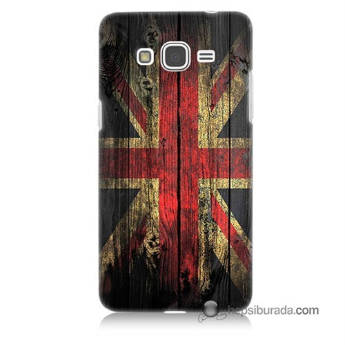 Teknomeg Samsung Galaxy Grand Prime Kapak Kılıf İngiliz Bayrağı Baskılı Silikon