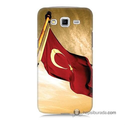 Teknomeg Samsung Galaxy Grand 2 Kılıf Kapak Türk Bayrağı Baskılı Silikon