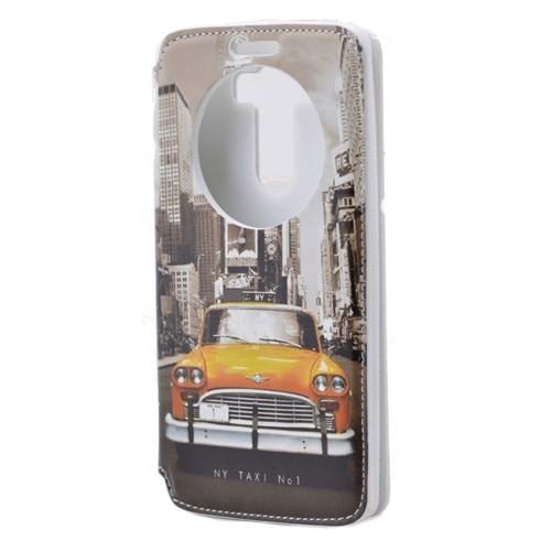 Teleplus Lg G3 Pencereli Uyku Modlu Kılıf Sarı Taksi Desenli