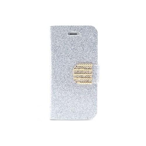 Teleplus İphone 5S Simli Taşlı Kılıf Beyaz