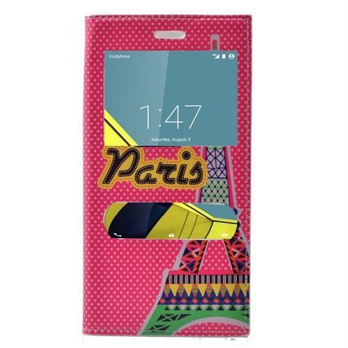 Teleplus Vodafone Smart 6 Desenli Çift Pencereli Kılıf Pembe Paris