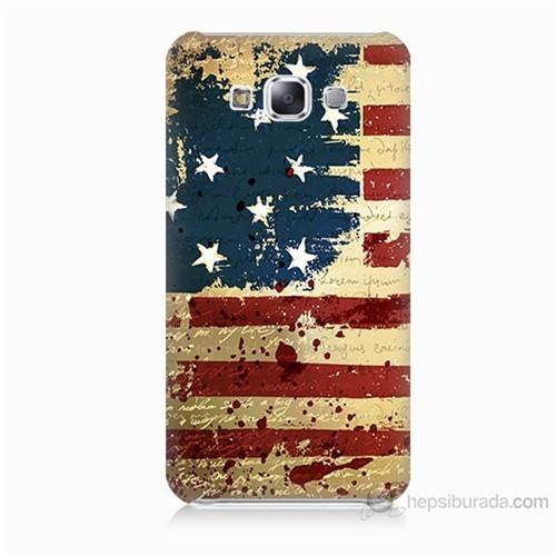 Teknomeg Samsung Galaxy E5 Amerika Bayrağı Baskılı Silikon Kılıf