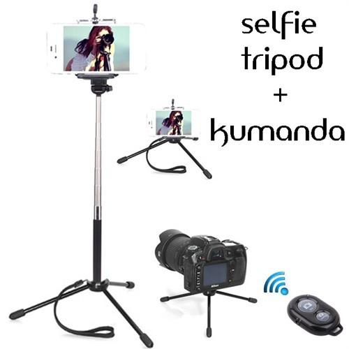 Coverzone Huawei P9 Tripod Selfie Çubuğu 3 Ayak Stand - Kumanda 2İn1
