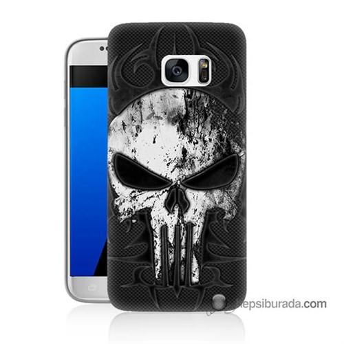 Teknomeg Samsung Galaxy S7 Kapak Kılıf Punnisher Kurukafa Baskılı Silikon