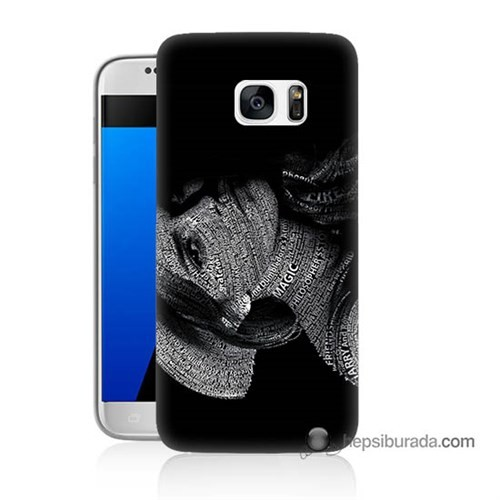 Teknomeg Samsung Galaxy S7 Kılıf Kapak Yazılı Kadın Baskılı Silikon