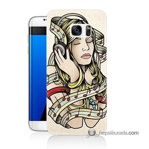 Teknomeg Samsung Galaxy S7 Edge Kapak Kılıf Müzik Aşkı Baskılı Silikon