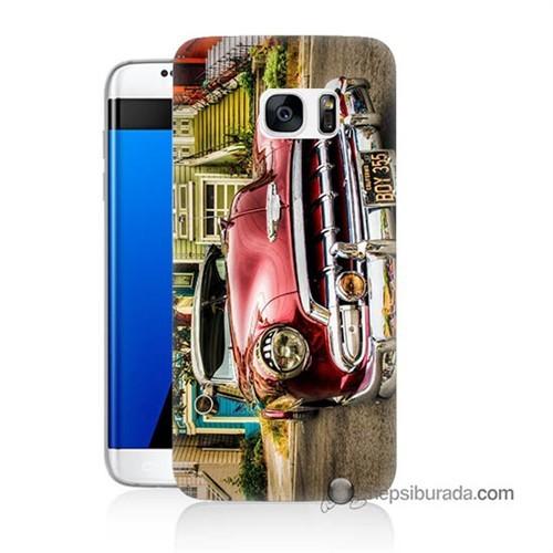 Teknomeg Samsung Galaxy S7 Edge Kapak Kılıf Klasik Araba Baskılı Silikon