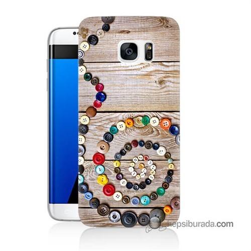 Teknomeg Samsung Galaxy S7 Edge Kapak Kılıf Düğmeler Baskılı Silikon