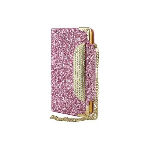 Teleplus Samsung Galaxy S5 Simli Zincirli Taşlı Kılıf Pink