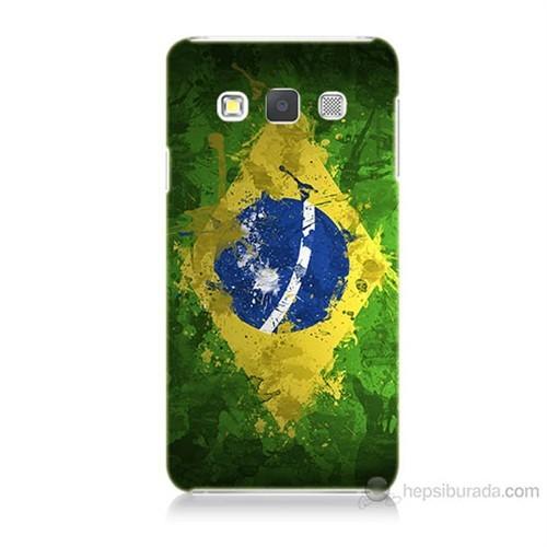 Teknomeg Samsung Galaxy A7 Kapak Kılıf Birezilya Bayrak Baskılı Silikon