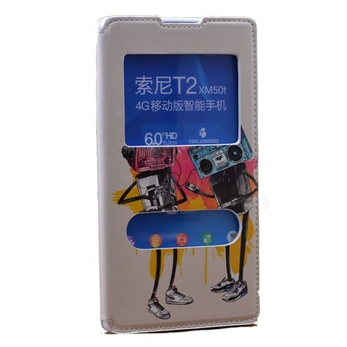 Teleplus Sony Xperia T2 Çift Pencereli Desenli Kılıf Müzik