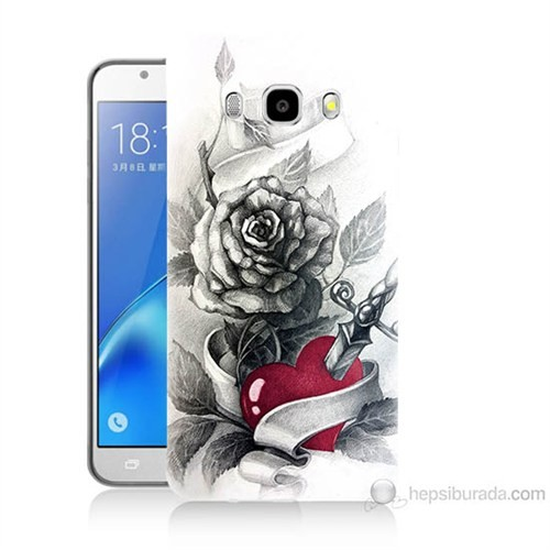 Teknomeg Samsung Galaxy J5 2016 Kapak Kılıf Hançerli Kalp Baskılı Silikon