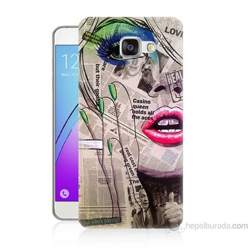 Teknomeg Samsung Galaxy A5 2016 Kapak Kılıf Gazete Kadın Baskılı Silikon