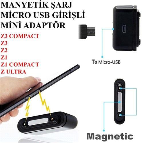 Sony Xperıa Z2 Telefon Manyetik Şarj Micro Usb Adaptörü