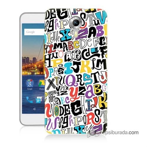 Teknomeg General Mobile 4G Android One Kılıf Kapak Renkli Harfler Baskılı Silikon