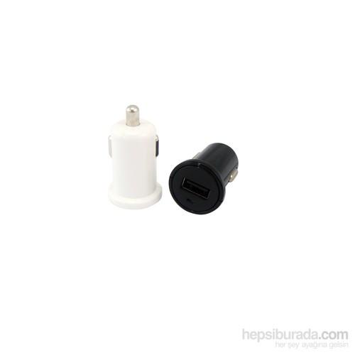 Redlife Tek USB Girişli 1A Micro USB Araç Şarj Cihazı Siyah/Beyaz Kablo - AGAS01081