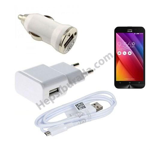 Fonemax Asus Zenfone 2 Laser 5 3İn1 Ev Ve Araç Şarjı + Data Kablosu Seti