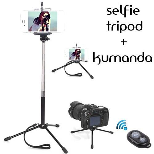 Coverzone Htc One M9 Tripod Selfie Çubuğu 3 Ayak Stand - Kumanda 2İn1