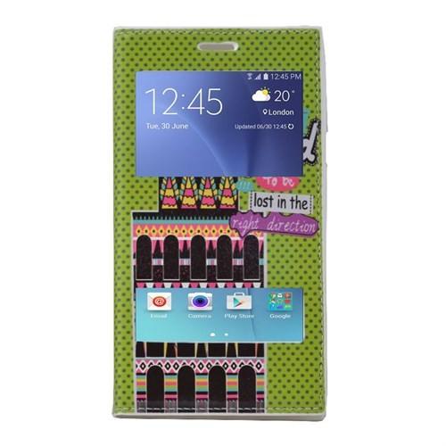 Teleplus Samsung Galaxy J5 Çift Pencereli Desenli Kılıf Yeşil