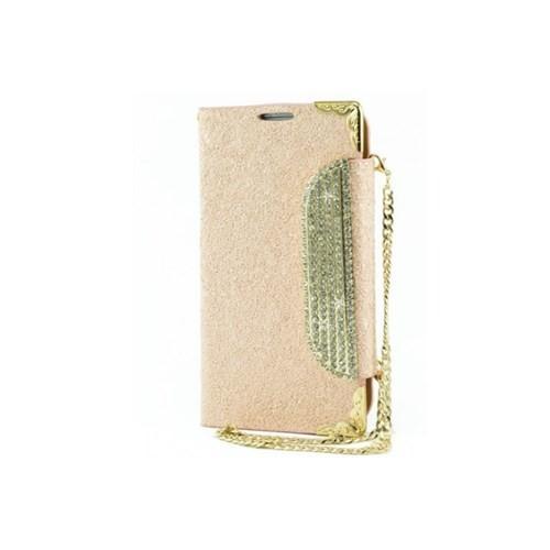 Teleplus Samsung Galaxy S4 Taşlı Kılıf Pullu Zincirli Cüzdanlı Pudra Renk