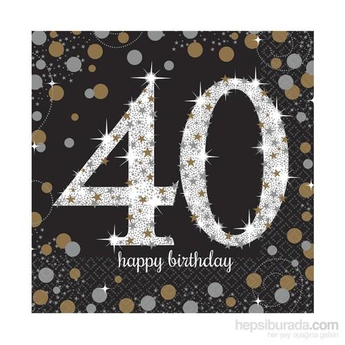 Kullanatmarket Işıltılı Doğumgünü 40 Yaş Peçete 16 Adet