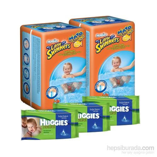 Huggies Yaz Paketi - 2 paket Little Swimmers Mayo Bebek Bezi (M/L) 22 Adet + 3 paket Doğal Bakım Islak Havlu