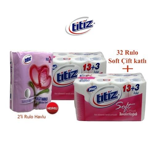 Titiz Tuvalet Kağıdı 32 Rulo Kağıt Havlu Hediyeli