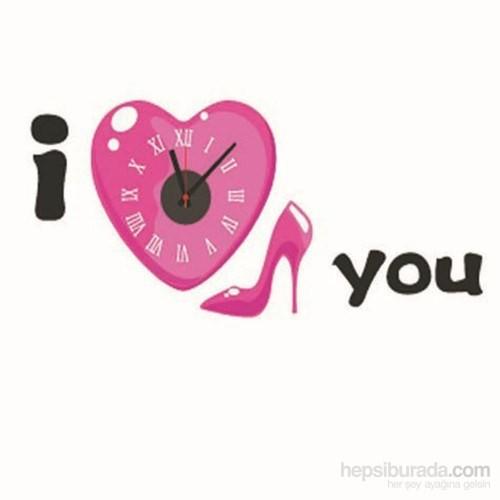 Hepsi Dahice I Love You Temalı Duvara Yapışan Saat