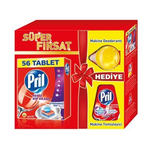 Pril Hepsi Bir Arada 56 Tablet + Makine Temizleyici + Makine Deodorantı