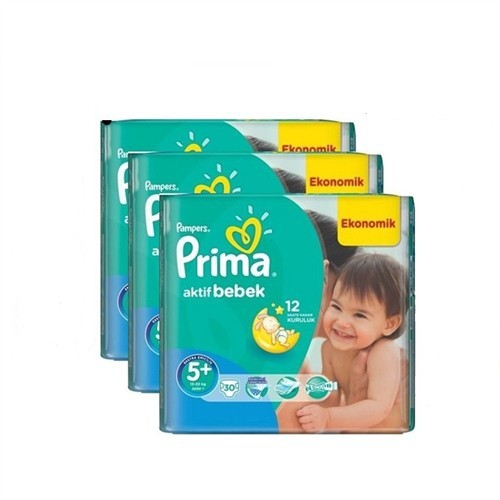 Prima Bebek Bezi Aktif Bebek Mega 3'lü Paket 5+ Beden 90 Adet