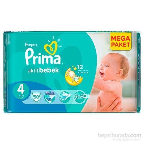 Prima Bebek Bezi Aktif Bebek Mega Paket 4 Beden 50 Adet
