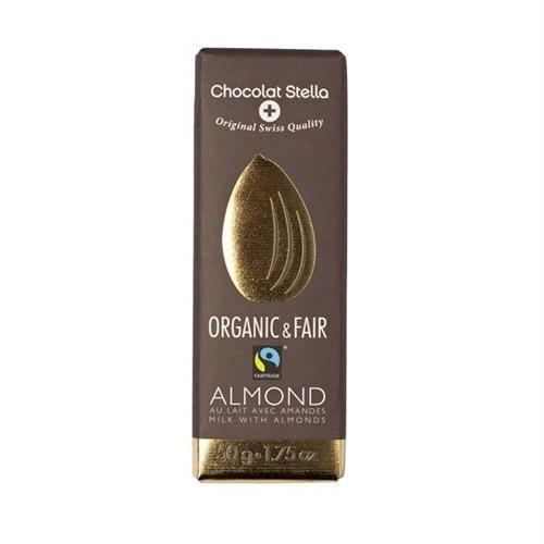 Chocolat Stella Parça Bademli Organik Sütlü Çikolata, 50 Gr