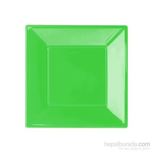 KullanAtMarket Yeşil Küçük Plastik Kare Tabak 8 Adet
