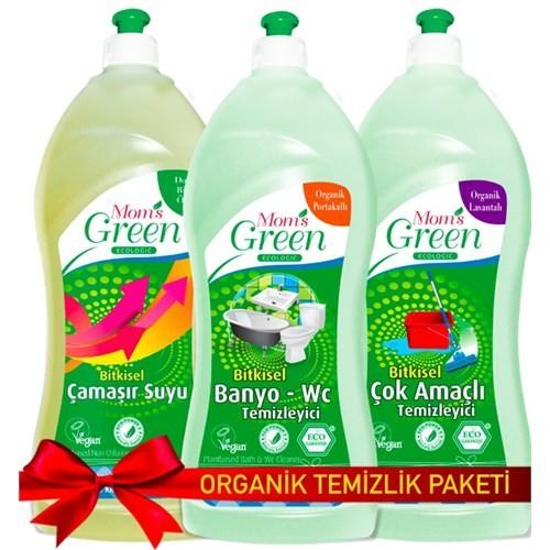 Mom's Green Organik Yüzey Temizlik Seti (Mom's Green Ecologic Bitkisel Çamaşır Suyu 1000 ml + Mom's Green Organic Çok Amaçlı Yüzey Temizleyici+ Mom's Green Organic Banyo ve Wc Temizleyici 1000 ml)