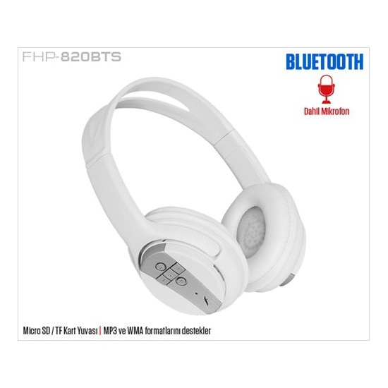 Frisby FHP-820BTS Bluetooth SD/TF Kart Girişli Mikrofonlu Kulaküstü Beyaz Kulaklık