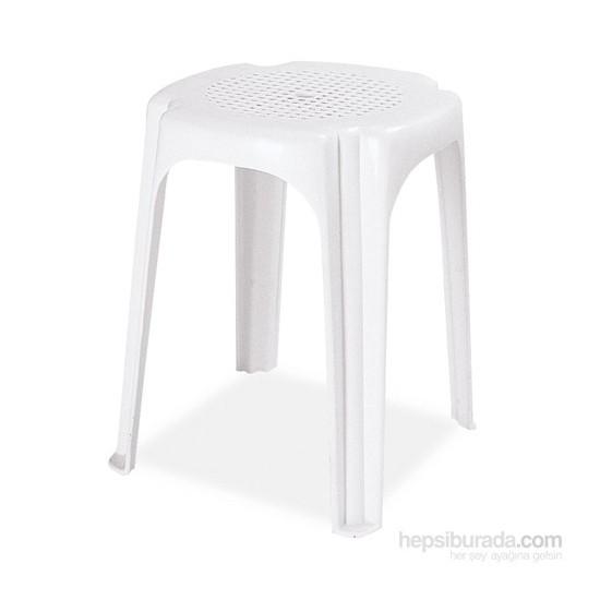 Papatya İnci Tabure Plastik Beyaz
