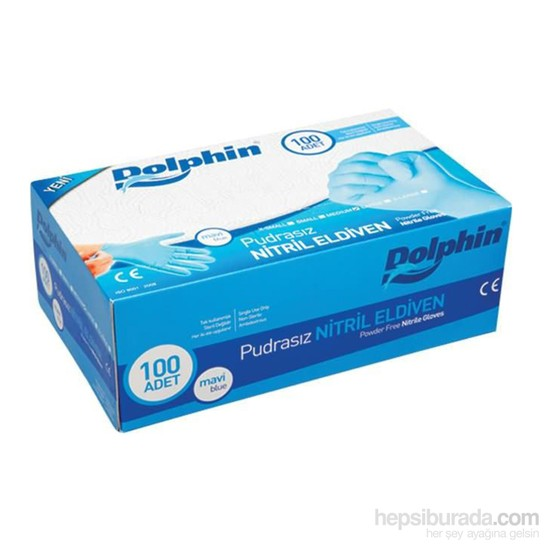 Dolphin Mavi Nitril Eldiven Pudrasız (M) 100 lü Paket