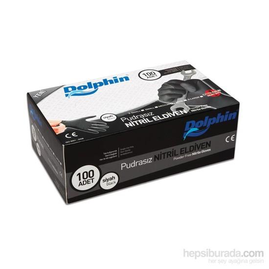 Dolphin Siyah Nitril Eldiven Pudrasız Ekstra Kalın (L) 100 lü Paket