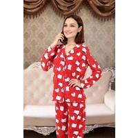 Easel Kadın Kırmızı Pamuklu Pijama Takımı