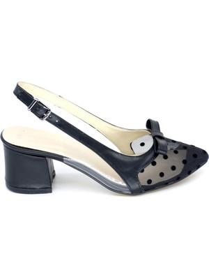 Trendyshoes Terndyshose 03254 Zn Önu Kapalı Arkası Acık Fıyonklu Dantel Detaylı Topuklu Ayakkabı