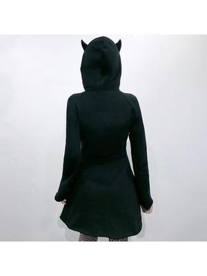 Bluereen Kadın Kedi Kulaklı Hoodie Sweatshirt (Yurt Dışından)