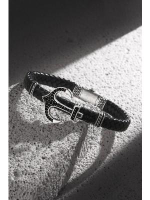 Frnch Çapa Figürlü Gerçek Deri Zirkon Taşlı Antik Gümüş Renk Handmade Erkek Bileklik FRJ11198-1298-BA2