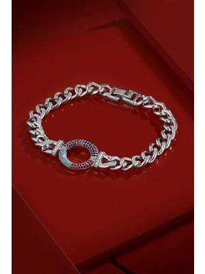 Frnch Renkli Zirkon Taşlı Gümüş Renk Kadın Bileklik FRJ11197-1297-A